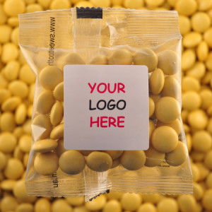 Yellow Chocolate Buttons - Promotional Bag - Plain Packaging Square Label