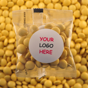 Yellow Chocolate Buttons - Promotional Bag - Plain Packaging Round Label